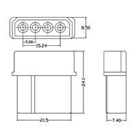 Buchse für 4 Pin Stecker aus weiß-transparentem Kunststoff