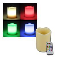LED Echtwachs-Kerze RGB ØxL 7x10cm + Fernbedienung