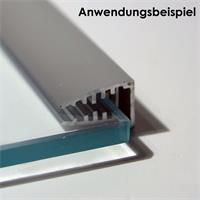 1m langes Glaskanten-Profil aus eloxiertem Aluminium