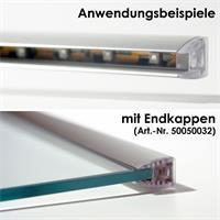 18mm hohes Glaskanten-Profil aus eloxiertem Aluminium