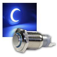 Druck-Schalter Metall, 230V/3A, Beleuchtung Blau
