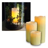 "3x Echtwachs LED Kerzen ""Stumpen"" 10/15/20x8cm"