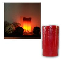 LED candle in red and rustic look, 15x8,5cm