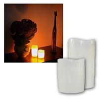 Set of 2 LED candle in beige, 10/15x8,5cm