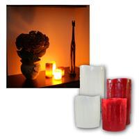 4er Set LED Kerze Echtwachs Elfenbein / Rot Ø8,5cm