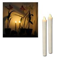 2er Set LED Stab-Kerzen, Echtwachs-Mantel weiß