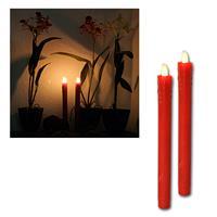 2er Set LED Stab-Kerzen, Echtwachs-Mantel rot