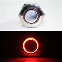 1-poliger Taster mit roter LED Ringbeleuchtung