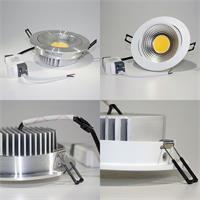 COB-LED Einbauleuchte mit weißem oder silbernem Gehäuse