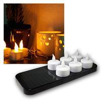 6er LED Teelichter mit Solar-Ladestation, Tealight