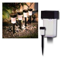 4er Set Solarleuchten Gartendeko schwarz, weiß