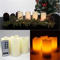 4er Set rote, weiße oder elfenbeinfarbene LED Advents-Kerzen