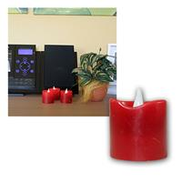 Set of 3 LED candle in red, 4,5x4,5cm
