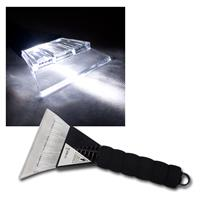 Ice scraper with LED lighting and plastic handle