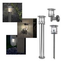 LED Solar Leuchte Edelstahl warmweiß Stand/Wege/Wand