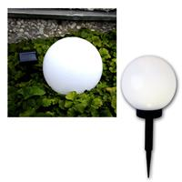 Solar-Kugel weiß Ø 20cm, LED warmweiß, Solarpanel