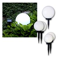 5er Set Solar-Kugel weiß, LED warmweiß, Solarpanel