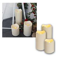 Set of 3 LED candle, with timer, Ø10cm, for outdoo