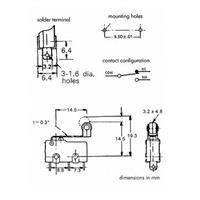 Anschlussbelegung für 1-poligen Mikrotaster