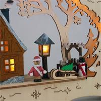 """Holz-Lichterbogen """"Village"""" mit vielen Details"""