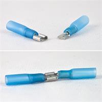 Flachsteckverbinder mit transparenter Schaftfarbe und Innenkleber