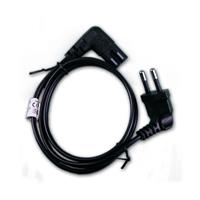 euro power cable black both ends 90° angle, 0.75m