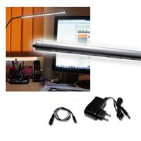 Desk lamp with screw claw, 20 LEDs,aluminum silver