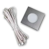 12V LED Einbaustrahler in Edelstahl mit dem Außenmaß 85x85mm