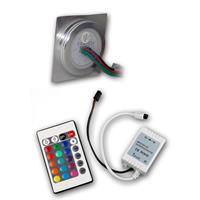 LED Leuchtmittel IP67 mit dem Maß ca. 55x55x12mm (LxBxH) und IR-Controller