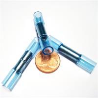 Verbinder mit blauer Kunststoffummantelung, innen verzinnt