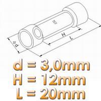 schrumpfbarer Stoßverbinder für Kabel Nennquerschnitt 0,1 bis 0,5 mm²