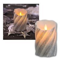 LED-Wachskerze Twinkle Flame silber bewegl. Flamme