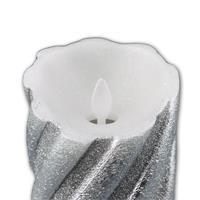 LED-Wachskerze Twinkle Flame silber 13 x 8 cm