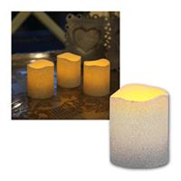 Set of 3 LED candle, silver, festive glitter look