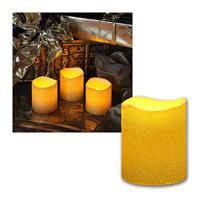 Set of 3 LED candle, gold, festive glitter look