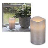 LED candle Linda, silver, 12,5x7,5cm, timer functi