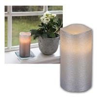 LED candle Linda, silver, 15x7,5cm, timer function