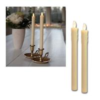 2er Set LED Stabkerzen beige, Push on / off per Flamme