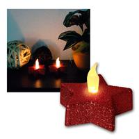 Set of 2 LED candle star, red, glitter optics
