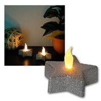 2er Set LED-Tischdekoration, Kerze silberner Stern