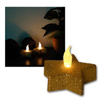 Set of 2 LED candle star, gold, glitter optics