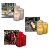 LED Wachskerze Linda | silber/gold/rot | Timer | 3 Höhen