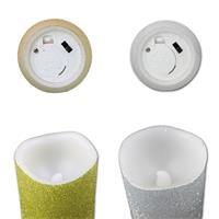 LED-Wachskerzen im 3er Set mit Flackereffekt in silber oder gold