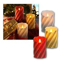 LED candle TWINKLE FLAME | gold/silver/red | glitter look