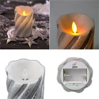 Warmweiß leuchtende LED-Wachskerze in 3 Farben