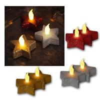Set of 2 LED tea lights | star| red/silver/gold | flickering