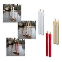Set of 2 LED dinner candles | red/beige/white | wax drops
