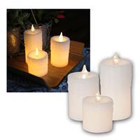 LED-Wachskerzen 3er Set, Kerzen weiß, mit Netzteil
