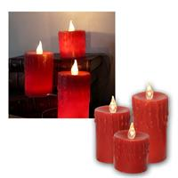 LED-Wachskerzen 3er Set, Kerzen rot, mit Netzteil