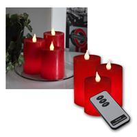 LED-Wachskerzen, rot, mit Fernbedienung 3er Set